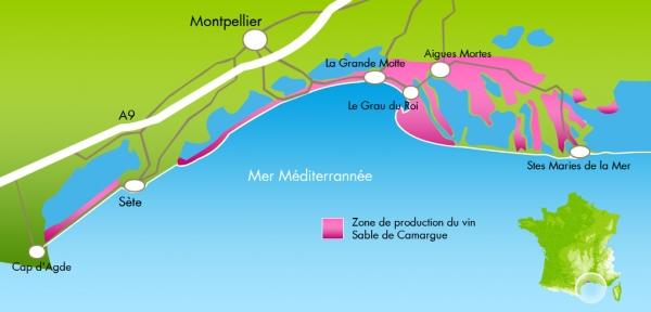 Carte région vin des sables